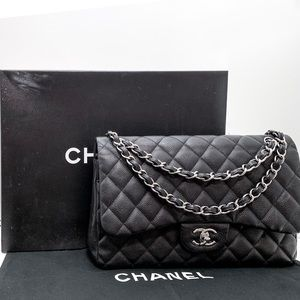 Chanel Caviar Jumbo Classic Flap Bag AUTHENTIC